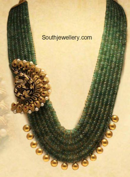 Beads Mala with Peacock Side Pendant photo