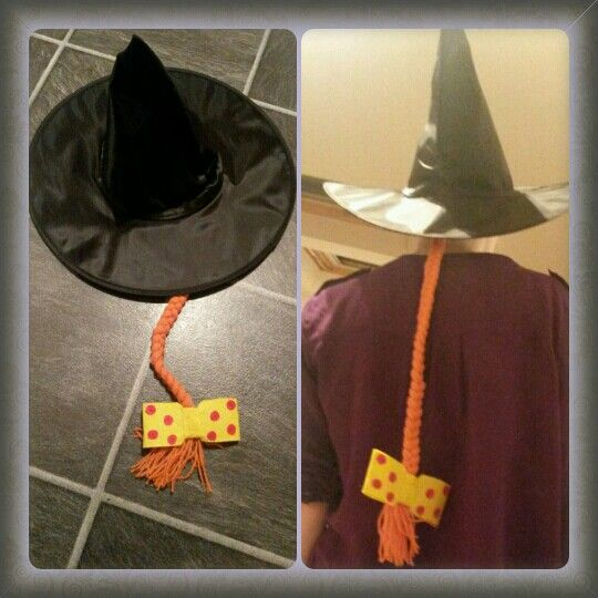 """Made this hat for going to Room on the Broom live stage show November 2015 Standard supermarket halloween witch hat. Cut strands of orange wool 3x15strands for the plait. Bow is made from felt. Lots of compliments & a 4 year old vey happy with her """"costume"""" :-)"""