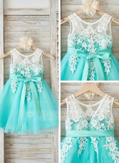 [US$ 62.99] A-Line/Princess Knee-length Flower Girl Dress - Tulle/Lace Sleeveless Scoop Neck With Sash/V Back