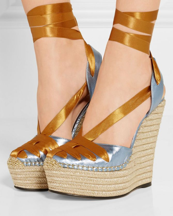 GUCCI Metallic leather and satin espadrille wedge sandals | Buy ➜ http://shoespost.com/gucci-metallic-leather-and-satin-espadrille-wedge-sandals/