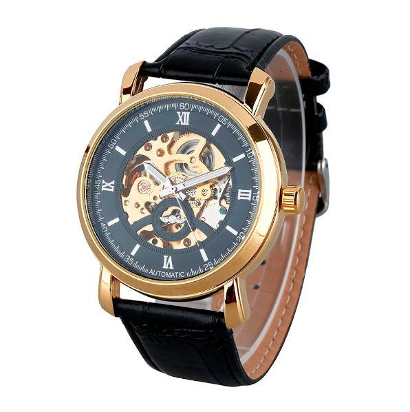 SLICK NATION Business Man Wristwatch With Skeleton Dial (Black Gold / Black…