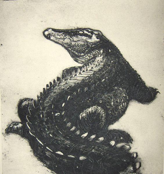 Crocodile (a collagraph print)