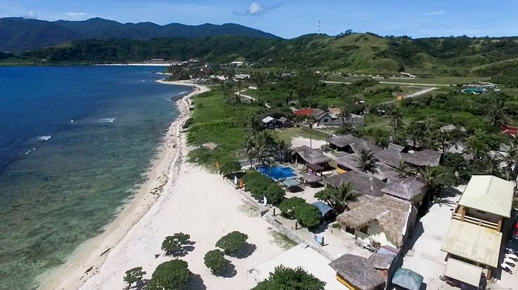 This is a drone shot from Blue Lagoon Beach in Pagudpud, Ilocos Norte, in the Philippines.