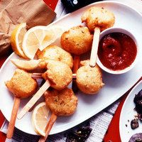 Jumbo Shrimp Corn Dogs | http://www.rachaelraymag.com/Recipes/rachael-ray-magazine-recipe-search/appetizer-starter-recipes/jumbo-shrimp-corn-dogs#