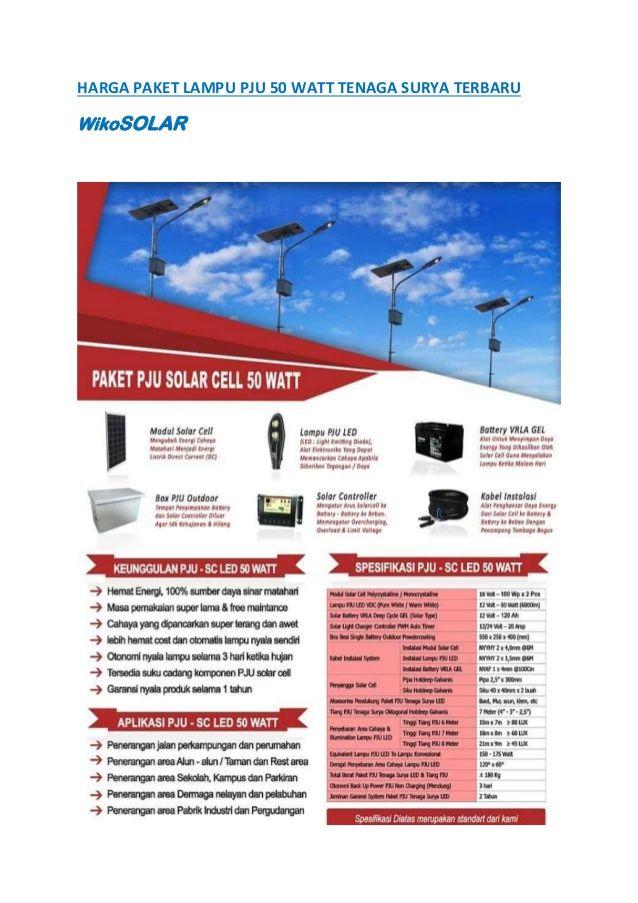 Harga Paket Lampu Pju 50 Watt Tenaga Surya Terbaru Wikosolar