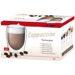 Termékleírás  Duplafalu üveg cappuccino csésze, trendi dizájnnal Manufakturális előállítással készült boroszilikát üvegből Használható mikrohullámú sütőben és tisztítható mosogatógépben A dupla üvegfal szigetelő hatása hosszabb ideig megtartja a pohárba töltött italok hőmérsékletét Átmérő: 6,5 cm (alsó) 8,0 cm (felső) Magasság: 11,0 cm Űrtartalma: 30 cl 2 db-os kiszerelés