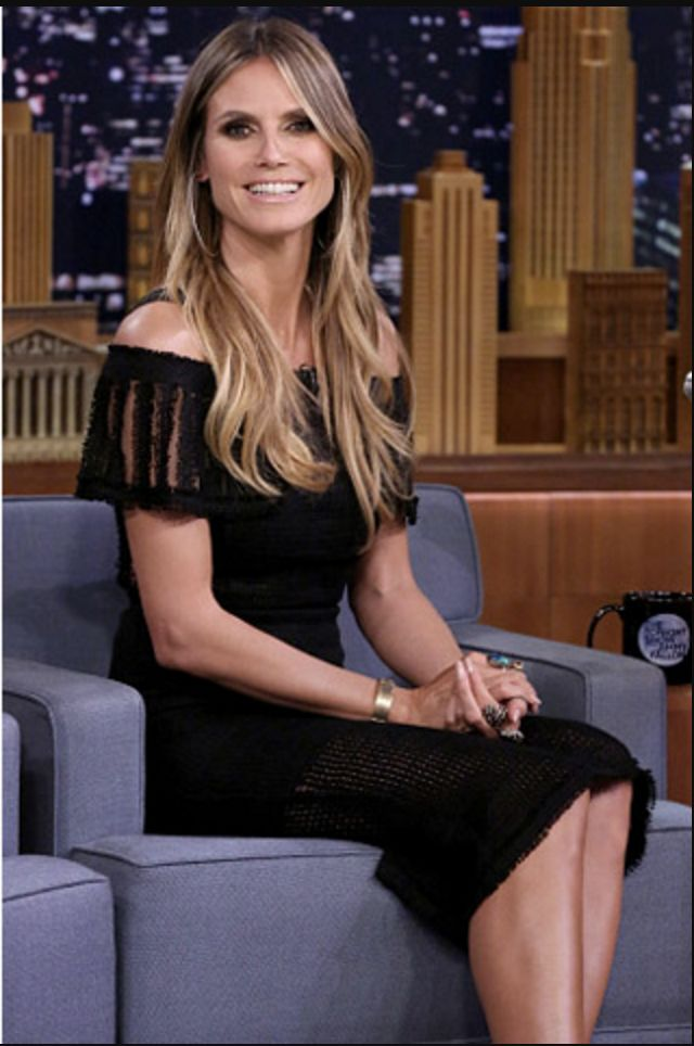 Heidi Klum wearing Roland Mouret on the Tonight Show in New York