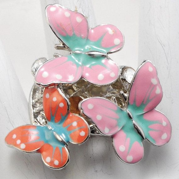 Statement Ring/Butterflies/Pink/Aqua/Salmon/Rhinestone/Spring/Summer Jewelry/Nature Jewelry/Gift For Her/ Adjustable/Under 20 USD