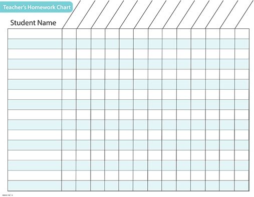 Free Printable Homework Charts For Teachers Students Acn Laudes