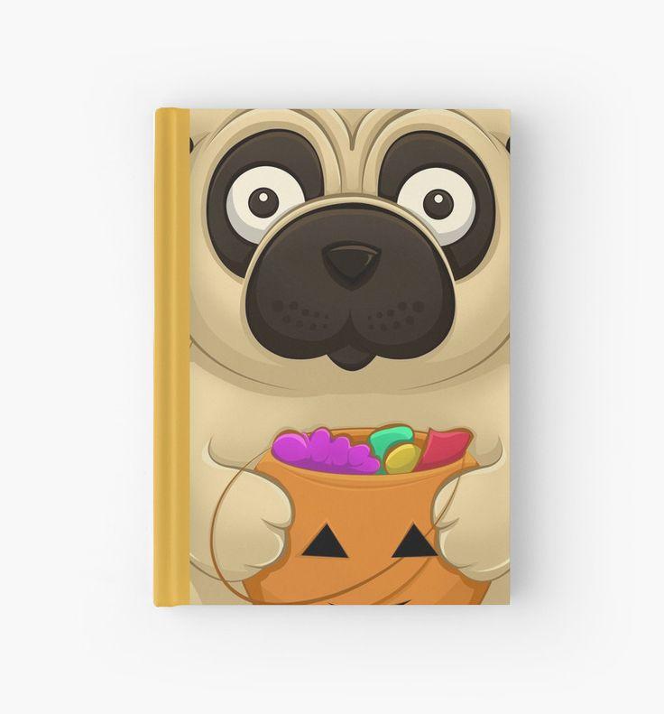 A Pug Halloween Hardcover Journals by AnMGoug on Redbubble. #Halloween #pug #dog #pumpkin #journal
