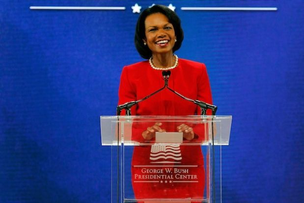 Condoleeza Rice: First African-American woman Secretary of State     In 2004,Condoleeza Ricewas appointed as Secretary of State after the resignation of Colin Powell, becoming the first black woman to ever hold this positition.  Photo Credit: Getty Images