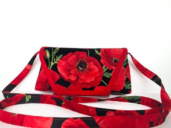 Red Poppy Cross Body Bag Red Funky Crossbody by AddaSplashofColour