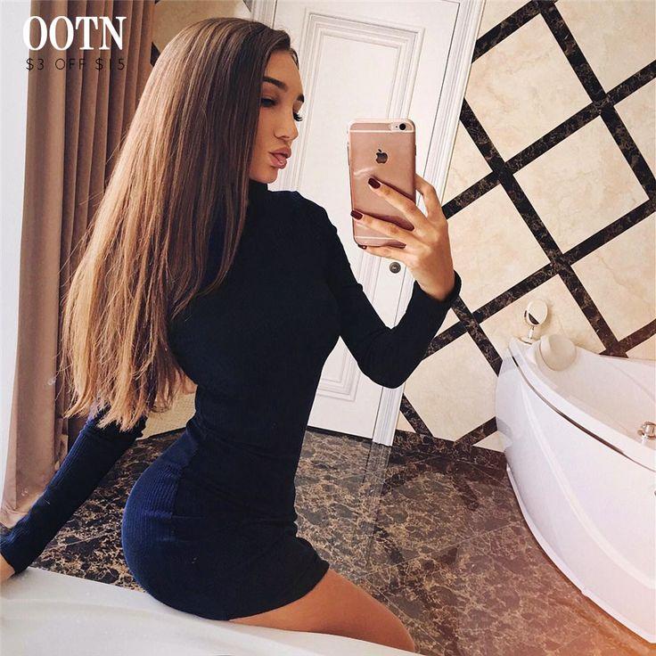 OOTN теплое платье женское темно синего цвета с длинным рукавом платья женские осень зима качество на высоте скидка 200 рублей от 1000 рублей купить на AliExpress