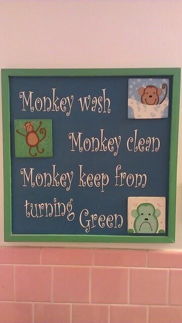 Monkey sign in my children's bathroom. -2006