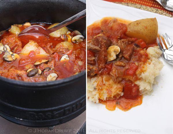Chicken chorizo and peppadew potjie