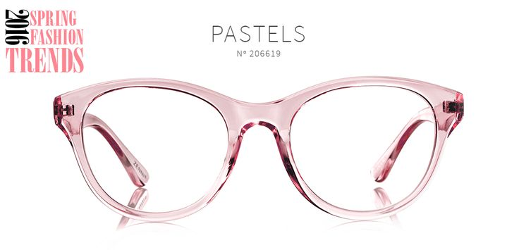 2016 Spring Fashion Trends, Pastels cat-eye eyeglasses made of flexible plastic comes in translucent pink. Frmae 206619