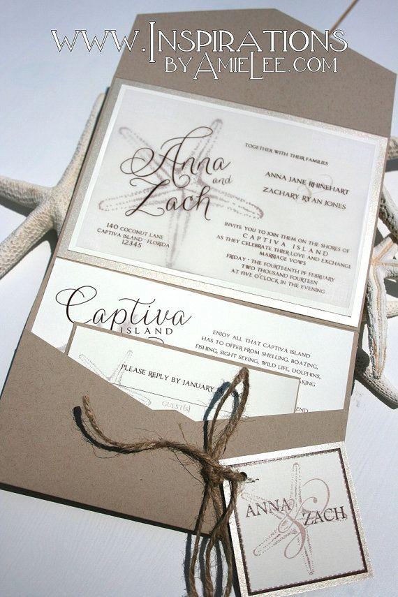 Rustic Beach Wedding Invitations Wedding by InspirationsbyAmieLe