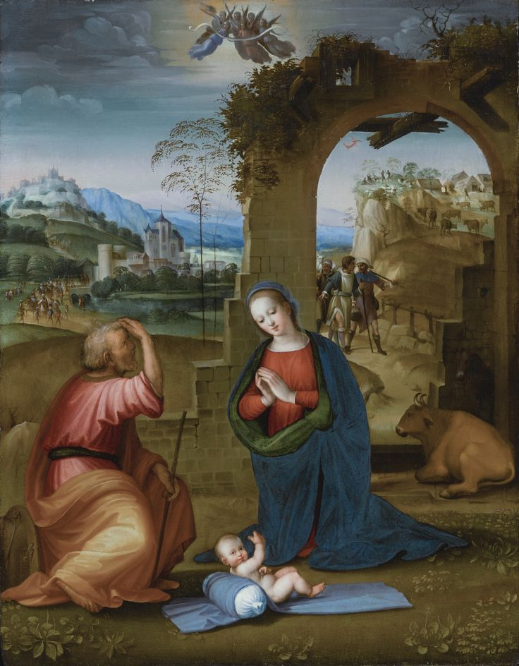 Ridolfo del Ghirlandaio FLORENCE 1483 - 1561 THE HOLY FAMILY WITH THE ANNUNCIATION TO THE SHEPHERDS BEYOND oil on panel 29 3/4  by 23 1/4  in.; 75.5 by 59 cm. Estimate 80,000 — 120,000 USD MASTER PAINTINGS & SCULPTURE EVENING SALE 25 JANUARY 2017 | 6:00 PM EST NEW YORK  sotheby's