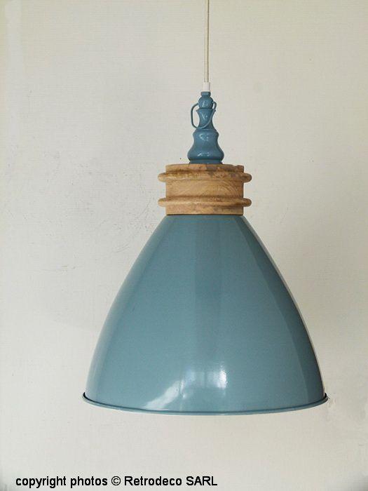Luminaire Style Bord De Mer #15: Suspension Artemis Métal Bleu-gris, Light U0026 Living