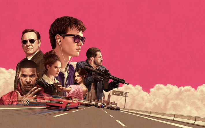 Download wallpapers Baby Driver, 2017, Ansel Elgort, Baby, Lily James, Deborah, Eric Marlon Bishop