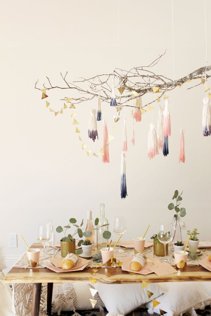 Turn Your Apartment Into A Cozy Winter Den  #refinery29  http://www.refinery29.com/diy-cozy-apartment-ideas#slide-4  Tassel Branch ChandelierConvincing your friends to eschew restaurant reservations in the name of eating the contents of your crockpot is much easier when your tablescape situation is this 'grammable. Head to your local florist (or park!) to find a branc...