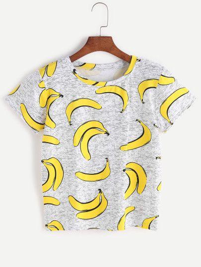 Camiseta con estampado de plátanos