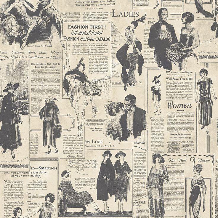 Tapete Newsprint - Stilvolle Tapete im nostalgischen Zeitungs-Design