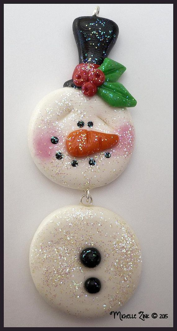 Polymer Clay Dangling Snowman Charm with Glitter