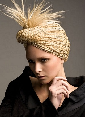 A long blonde straight wavy spikey crimped frizzy frizzed tight- hairstyle by Steven Carey