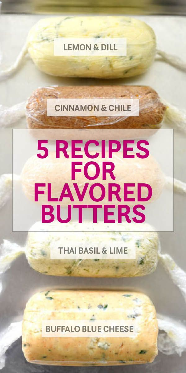 Herbs, citrus, and even cheese flavor these 5 recipes for easy-to-make homemade compound butters | lemon dill butter | cinnamon butter | thai basil lime butter | buffalo blue cheese butter | parmesan butter | foodiecrush.com