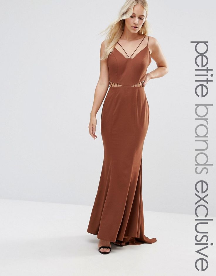 Get this Jarlo Petite's long dress now! Click for more details. Worldwide shipping. Jarlo Petite Strappy Maxi Dress With Waist Cutout Detail - Brown: Petite dress by Jarlo Petite, Woven fabric, Multi-strap design, Cut-out waist detail, Zip-back fastening, Fishtail skirt, Regular fit - true to size, Dry clean, 100% Polyester, Our model wears a UK 8/EU 36/US 4, Exclusive to ASOS. Jarlo started life on a stall on London's famous Portobello Road. A love-in with all things beautiful and…