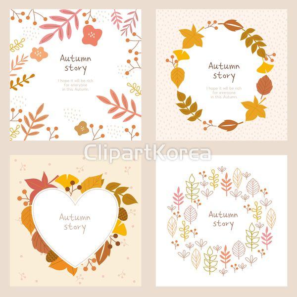 일러스트 가을 단풍 계절 카드 우편 사람없음 팬시 메모 편지지 세트 카피스페이스 프레임 꽃 식물 원형