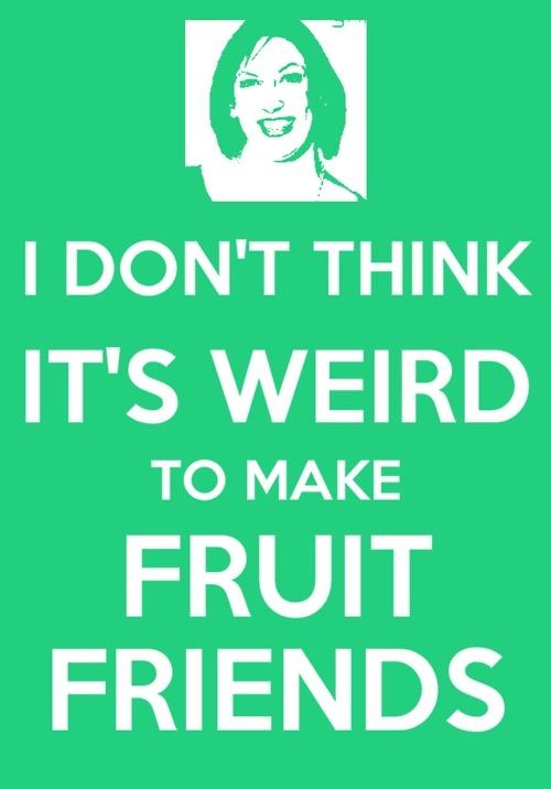 Miranda Hart with the brilliant fruit friends