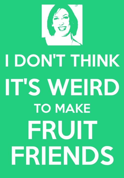 Miranda Hart with the brilliant fruit friends