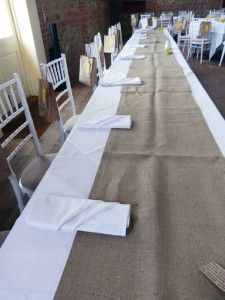 Standard Hessian Table Runners - available to buy from http://thevintagebuntinghirecompany.com/product/baptism/hessian-table-runners/