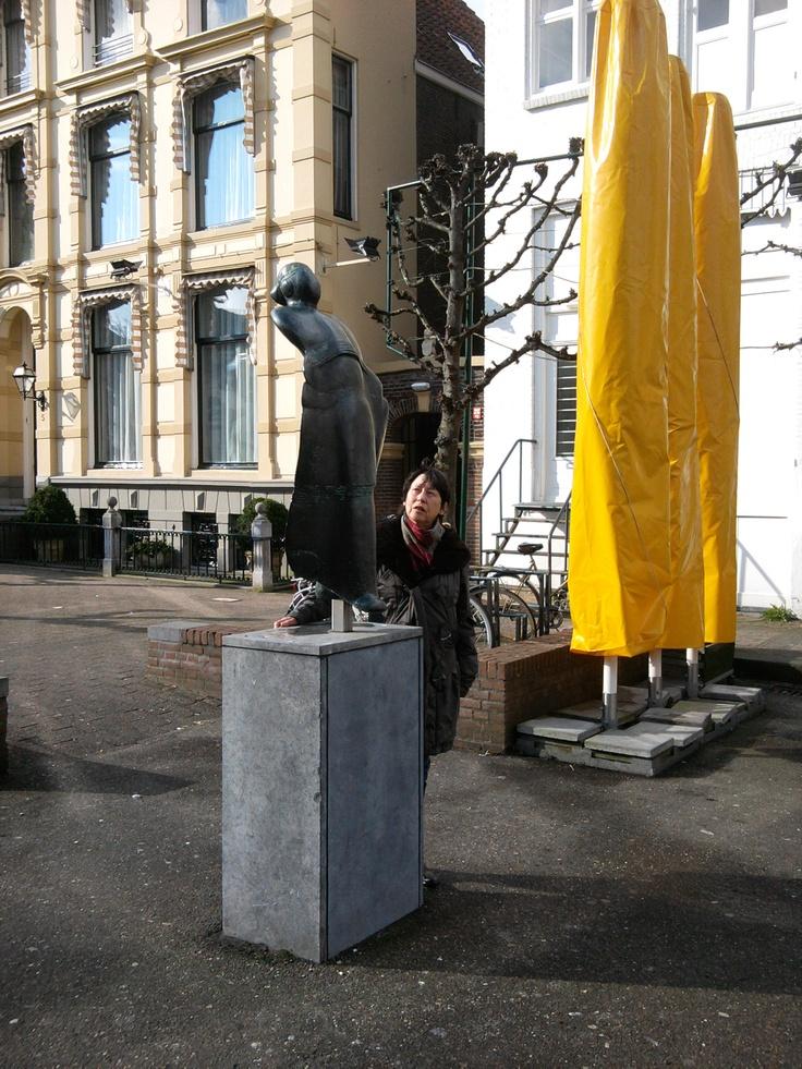 'Striding Dancer with Tambourine' by Fioen Blaisse. Gasthuisplein Zwolle.  March 13th, 2013