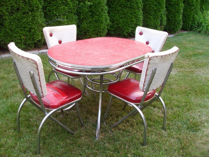 awesome red retro kitchen table and chairs intended for Present Home
