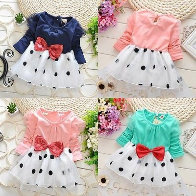 >> Click to Buy << Cute Baby Toddler Girls Princess Party Long sleeve Bowknot Dot Tulle Dress 6M~5Y #Affiliate