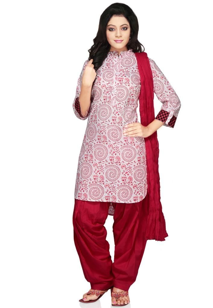 Red and White shaded cotton readymade salawar suit