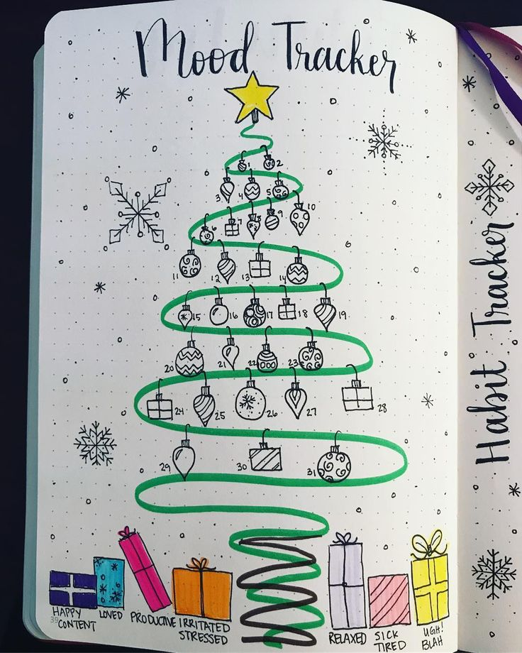 Bullet journal mood tracker, Christmas bullet journal theme, Christmas drawings, chistmas present drawings, Christmas decorations drawings. @creative_journaling_jess