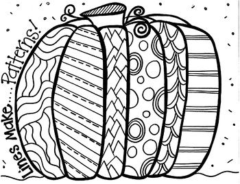 Patterned Pumpkin Coloring Sheet
