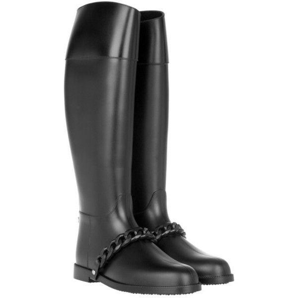Givenchy Chain Rain Boot Noir in black, Boots & Booties ($345) ❤ liked on Polyvore featuring shoes, boots, black, knee-high boots, cap toe boots, wellington boots, knee boots, rain boots and flat knee high boots