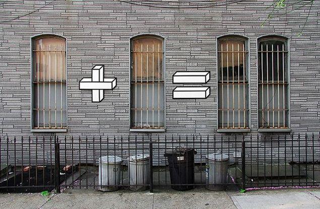 L'artisteAakash Nihalanidéjà présentéici avec sa série créée avec du ruban adhésif est de retour avec cette fois du Street Art mathématique