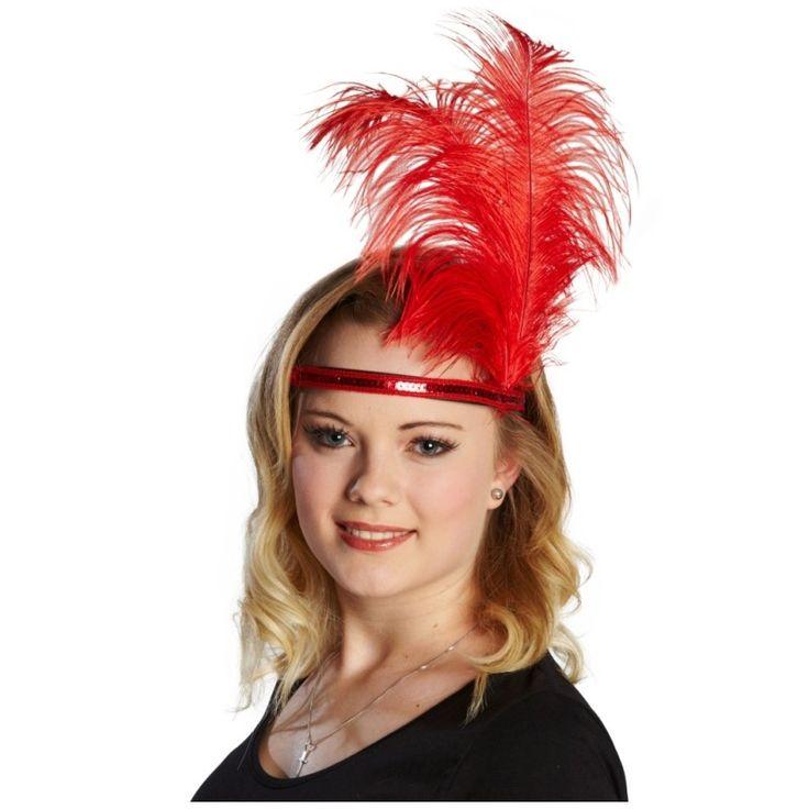 Coiffe charleston rouge femme tiare avec plumes et sequin - Baiskadreams.com