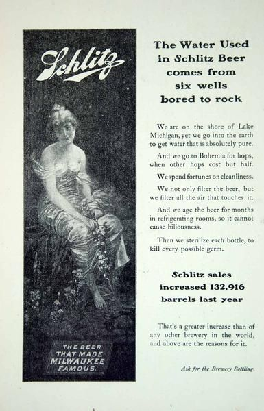 1903 Ad Vintage Schlitz Beer that Made Milwaukee Famous Brewing Well Water YSM2