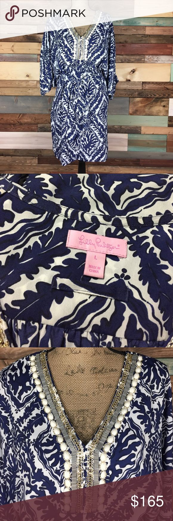 Lilly Pulitzer Navy Beaded Kimono Dress - L Lilly Pulitzer Navy Beaded Kimono Dress - L // EUC - no flaws or signs of wear. Beading is pristine. Lightweight - perfect for a beach vacation. Tie waist. Lilly Pulitzer Dresses