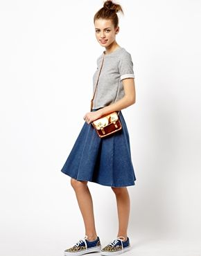 New Look Denim Jersey Midi Skater Skirt