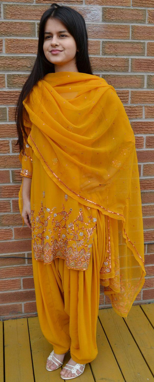 Mustard Yellow Patyala Shalwat Suit/ Punjabi by ColorfulGirlCloset