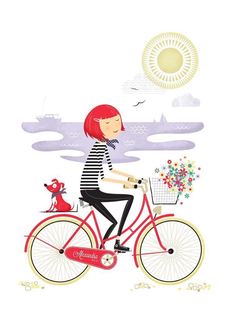 Bike girl ilustraciones pinterest bicicleta for Disenos para bicicletas