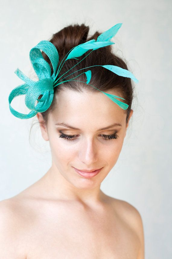 Jade verde fascinator plumas diadema por BeChicAccessories en Etsy